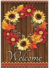 Alaza Welcome Kranz Sonnenblume Ahorn Blätter
