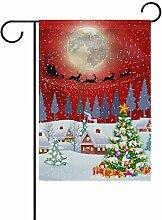 ALAZA Winter-Weihnachtsbaum Hirsch Garten Flagge