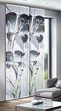 Albani Flächenvorhang, 100% Polyester, 245 x 60 cm (H x B), fertig konfektioniert, 1 Stück, Willkommen Zuhause Trinity, Weiß-Schwarz-Grau, 271786