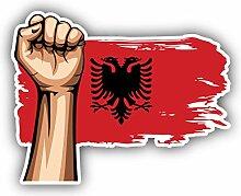 Albania Flag Hand - Self-Adhesive Sticker Car