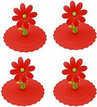Albeey 4 Stück Blume Silikon-Schalen-Deckel Anti-Staub Kaffee-Haferl Saug Deckel Kappe Getränk-Schalen-Deckel (rot)