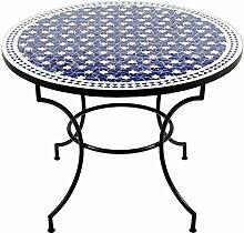 albena Marokko Galerie 15-110 Maar Marokkanischer Mosaiktisch ø 100cm rund (Maar: blau/weiss)