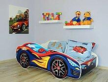 Alcube Kinderbett Auto-Bett Burning Flames 140 x