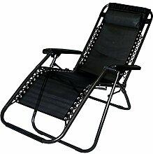 Aleko® Outdoor Terrasse faltbar Chaiselongue Freizeit Pool Strand Stuhl, schwarz Farbe