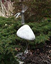 Alex stehend Gartenfigur und Gartendeko als Steinvogel aus Edelstahl und SteinGröße S Eisenfigur ca. 25 cm