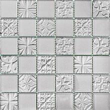 ALFA-CER Mozaik, Glas, Silbern Metallic, 29.8 x