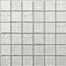 ALFA-CER Mozaik, Glas, Weiß Metallic, 29.8 x 29.8