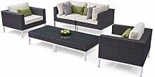 alfa Polyrattan Edelstahl Lounge Gartenmöbel Set
