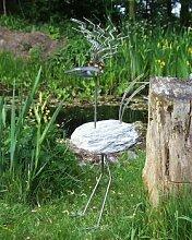 Alfred Gartenfigur und Gartendeko als Steinvogel aus Edelstahl und Stein Alfred Größe X Eisenfigur ca. 120 cm Design Tiedemann