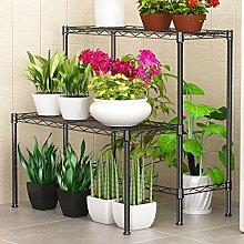 Ali Aufbewahrungsrahmen Eisen Blumenrahmen Mehrstöckiger Boden Regal Balkon Blumenbeet Rahmen Indoor Wohnzimmer Blumenregal ( Farbe : Schwarz )