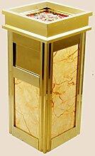 Ali@ Four Riviera Continental Lobby Hotel Imitation Marmor Mülleimer Edelstahl Vertikale Aufzug Aschenbecher (Farbe : Beige)