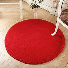 Ali Runder Teppich Korb mit Rattan Stuhl Computer Stuhl Kissen Wohnzimmer Schlafzimmer Nachttisch Teppich ( Farbe : Pink , größe : 100*100cm )
