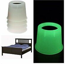 alicebeauty rund Glow in the Dark Bett aufstehen,/Möbel aufstehen, für unter Bett Speicherung und zeigt Bett Standort in Dark (Set von 4) Heavy Duty Design, plastik, weiß, 10 cm
