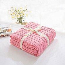 alicebeauty Strickdecke Bett Banket Bezug Überwurf mit Futter Baumwolle Tex Super Weiche Decke auf das Bett/Sofa Bezug Decke, baumwolle, rose, 180x200cm