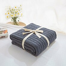 alicebeauty Strickdecke Bett Banket Bezug Überwurf mit Futter Baumwolle Tex Super Weiche Decke auf das Bett/Sofa Bezug Decke, baumwolle, grau, 110x180cm