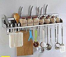 Alicemall SUS304 Edelstahl Küche Regal Rack Gestell Wandmontage Küchengerät Küchenwerkzeug für Dosen Pot Flasche Löffel Schöpflöffel Spatel Spice Rack Küchenregal - 80cm, 12 Haken
