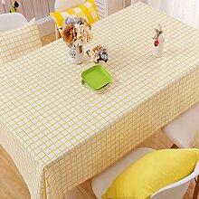Alicemall Tischdecke Abwaschbar Schmutzabweisend Tischtuch Mit Karo Muster In Beige Gelb Tischdecken 140x220 cm