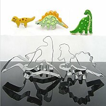 Aliciashouse 4Pcs Edelstahl Dinosaurier Keks Cookie Stabmesser-Werkzeuge