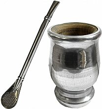 Aliminium/Palo Santo Wooden Gourd and Bombilla Set to Drink Yerba Mate by Gaucho Bruno
