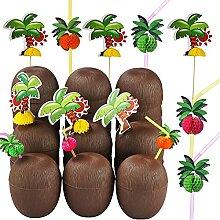 ALINK 18 Kokosnuss-Becher mit 18 Strohhalmen und