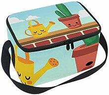 ALINLO Cute Cartoon Cactus Lunch Bag, Zipper