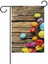 ALINLO Happy Oaster Bunte Eier auf Holz