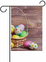 ALINLO Happy Ostern Bunte Eier Holz Garten Flagge
