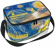 ALINLO Road Street Oil Painting Lunch Bag, Zipper