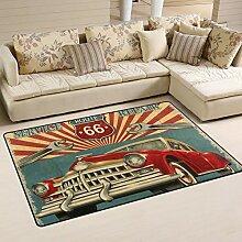 Alinlo Vintage Retro Garage Auto Bereich Teppich,