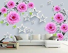 Aliworte 3D Tapete Fünf-Sterne-Stereo-Rosa Blumen