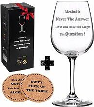 Alkohol ist nie die Antwort Funny Wein Glas +