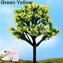 alkyoneus Miniatur Sakura Pflaume Willow Tree Pflanzen Fairy Puppenhaus Ornament Garten Zubehör Grün / Gelb