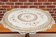 All 4 Decor Ltd Gesticktes Country Cottage-Stil linen-like Ovale Tischdecke Tischläufer, rechteckig, mit Blumen-Muster, 85cm/33.5in in diameter (round)