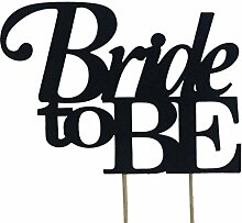 All About Details Black Bride-to-be Cake Topper