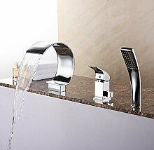 All-Kupfer 3er-Set/Wasserfall Dreiloch-Bad Wasserhahn/Thermostatischen Armatur heiß und kalt-A