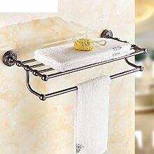 All-Kupfer Handtuchhalter/Handtuchhalter/Amerikanische schwarze Bronze Doppelregale/Antique Badezimmer Handtuchhalter-I