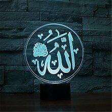 Allah Lichter Lampe 3D Licht Acryl Bunte