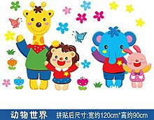 ALLDOLWEGE Das kreative Kinderzimmer der Wand zu entfernen Wand Kind wand Dekoration selbstklebende Tapete cartoon Höhe Aufkleber Plakate, Tierwel
