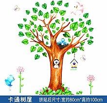 ALLDOLWEGE Das kreative Kinderzimmer der Wand zu entfernen Wand Kind wand Dekoration selbstklebende Tapete cartoon Höhe Aufkleber Plakate, Karikaturen Tree House