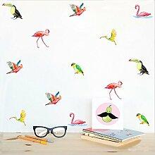 ALLDOLWEGE Kreative Farbe Vogel Wand Wandaufkleber