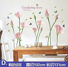 ALLDOLWEGE Wall Sticker Aufkleber Sonnenblumen Warme Romantische Zimmer Hintergrund Aufkleber Schlafzimmer Wohnzimmer Fernseher Sofa Wand Aufkleber, 6.