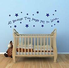 Alle Because Zwei Leute Fell in Love Kinderzimmer Baby Zimmer Wandkunst Sticker Abziehbild Dekorativ Wandsticker - Hellblau Matte