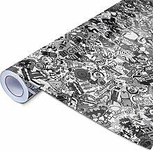 Alle Designs- alle Größen: Stickerbomb Auto Folien glänzend oder matt - Marken Sticker Bomb Logos- JDM Aufkleber (200x150cm, SD schwarz weiß glänzend)