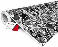 Alle Designs- alle Größen: Stickerbomb Auto Folien glänzend oder matt - Marken Sticker Bomb Logos- JDM Aufkleber (400x150cm, SD schwarz weiß glänzend)