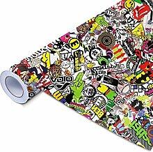 Alle Designs- alle Größen: Stickerbomb Auto Folien glänzend oder matt - Marken Sticker Bomb Logos- JDM Aufkleber (150x150cm, SD bunt matt)