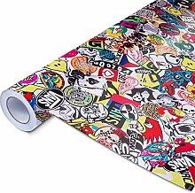 Alle Designs- alle Größen: Stickerbomb Auto Folien glänzend oder matt - Marken Sticker Bomb Logos- JDM Aufkleber (150x150cm, Skate bunt glänzend)