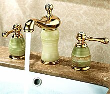 Alle Kupfer antik Hahn 3 - Loch Waschtisch Armatur mit heißen und kalten Wasserhahn im Waschbecken wasserhahn Griff, Badezimmer Armatur k