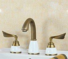 Alle Kupfer antik Hahn 3 - Loch Waschtisch Armatur mit heißen und kalten Wasserhahn im Waschbecken wasserhahn Griff, Badezimmer Armatur g