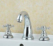 Alle Kupfer antik Hahn 3 - Loch Waschtisch Armatur mit heißen und kalten Wasserhahn im Waschbecken wasserhahn Griff, Badezimmer Wasserhahn ein