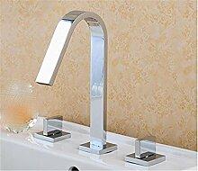 Alle Kupfer antik Hahn 3 - Loch Waschtisch Armatur mit heißen und kalten Wasserhahn im Waschbecken wasserhahn Griff, Badezimmer Armatur